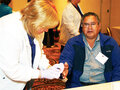 IMAGE Tim Printup (Wolf Clan) had his blood checked during a health fair held as part of the annual Elders Conference.