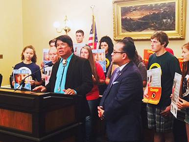 IMAGE Oneida Indian Nation Representative Ray Halbritter speaks at a press conference following today's CA Senate Education Committee passage of AB30.
