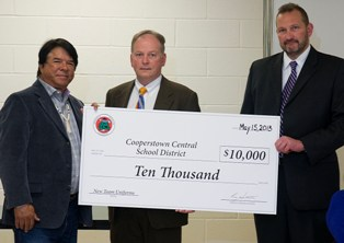 IMAGE Oneida Indian Nation Presents Check to Cooperstown School District