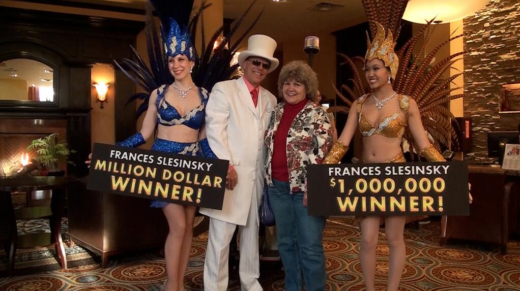 IMAGE $1 Million Winner Frances Slesinsky helps announce Million Dollar Bingo 2014.