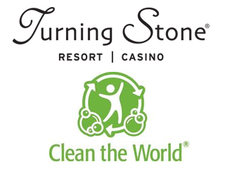 IMAGE Turning Stone logo above the Clean the World logo. TS has announced a partnership to provide products to those in need.